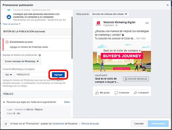 Captura de pantalla de la sección de configuración del número de WhatsApp en el anuncio de Facebook