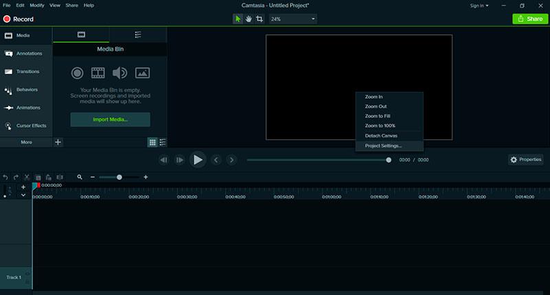Configuración en Camtasia sobre cómo hacer un video de portada para Facebook