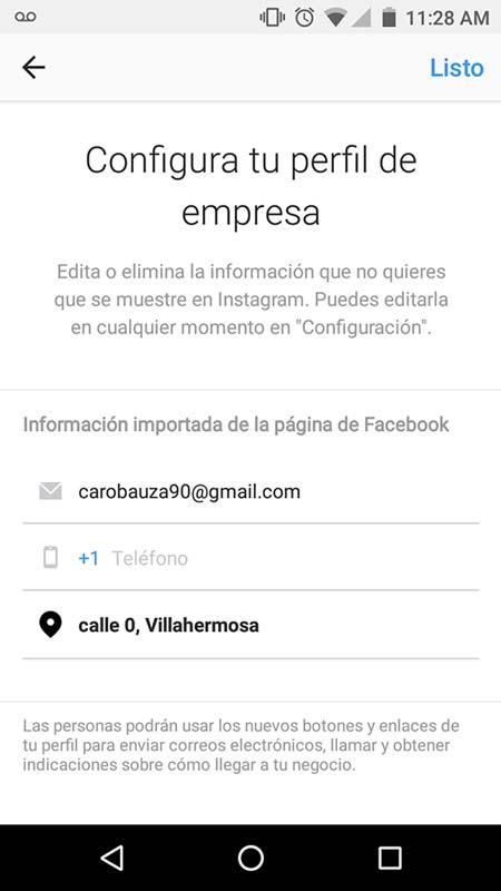 Imagen que muestra cómo configurar un perfil de instagram para empresas