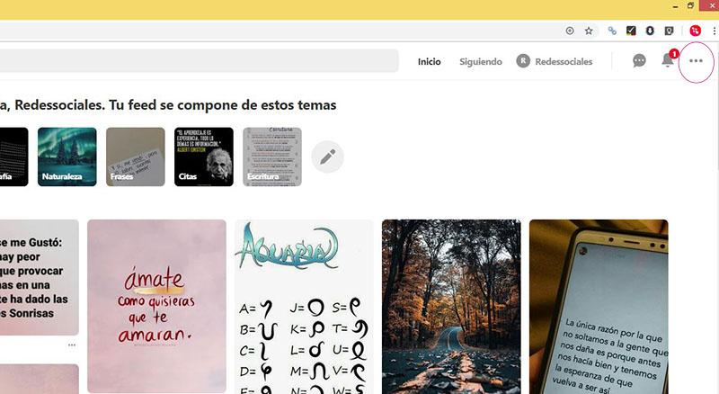 Captura de pantalla señalando del botón de la configuración en Pinterest