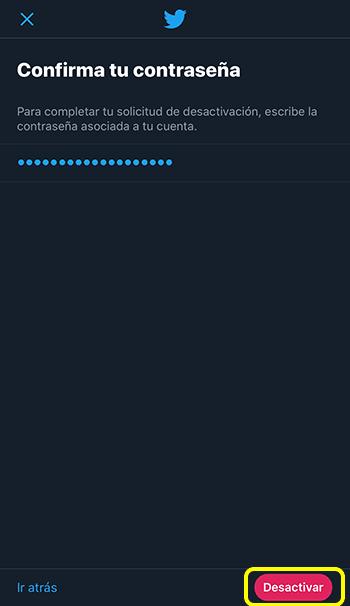 Captura de pantalla confirmando contraseña y seleccionando la opción desactivar
