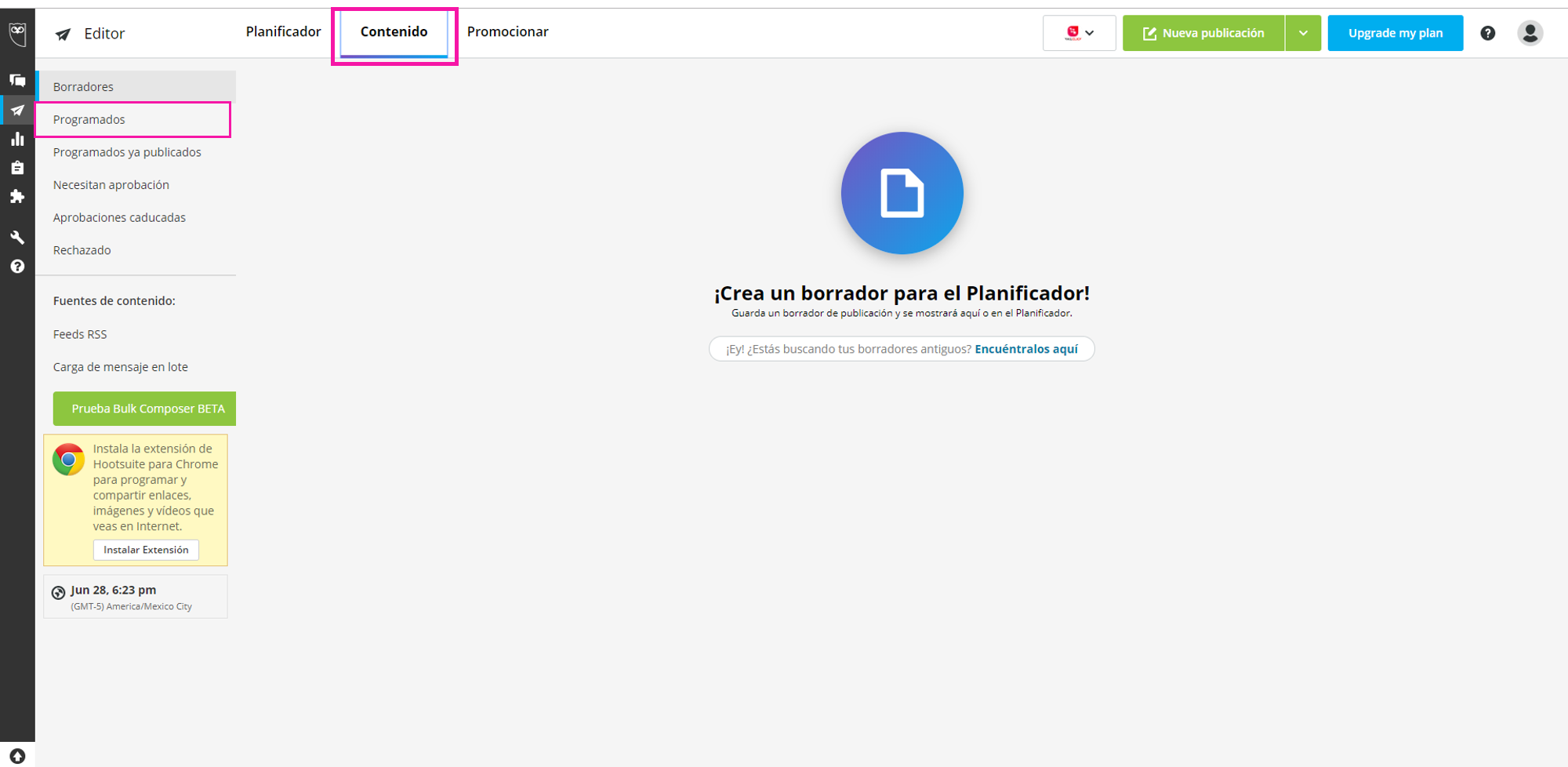 Captura de pantalla del Contenido programado em Hootsuite