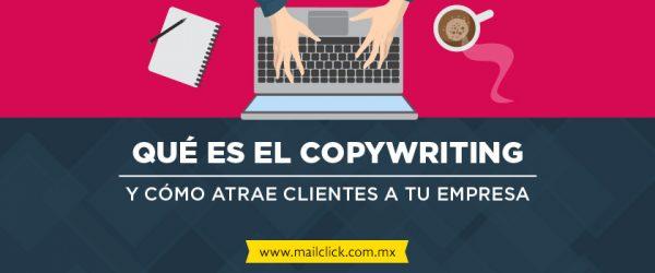 """Imagen con el título del artículo """"Qué es el copywriting y cómo atrae clientes a tu empresa"""" y unas manos escribiendo en una laptop junto a un café y una libreta"""