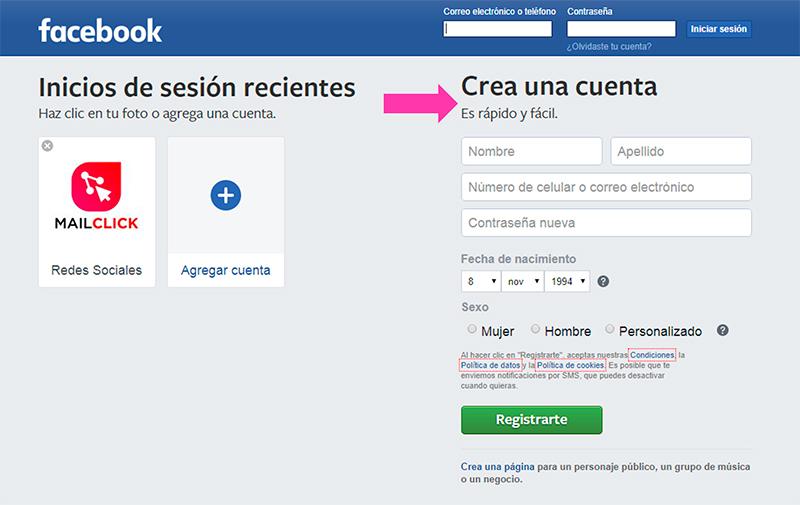 Captura de pantalla indicando cómo crear una cuenta