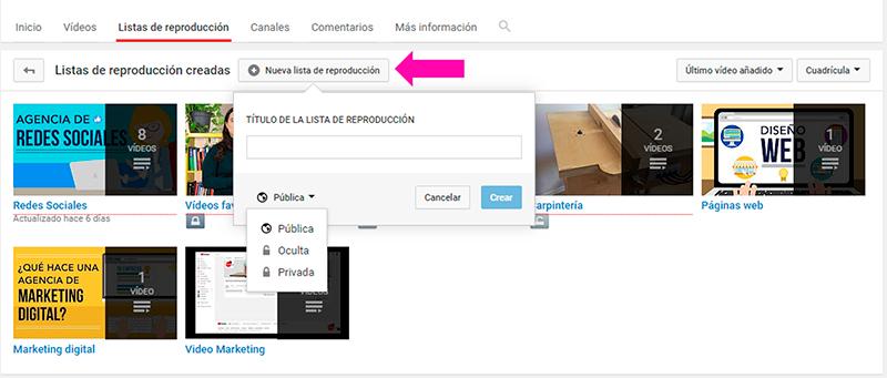 Captura de pantalla para crear lista de reproducción