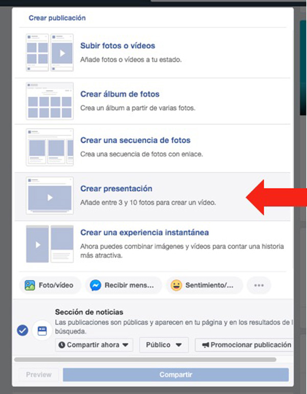 Flecha señalando la opción de crear presentación de Facebook
