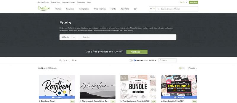 Captura de pantalla de la página Creative Market para descargar tipos de fuentes gratis