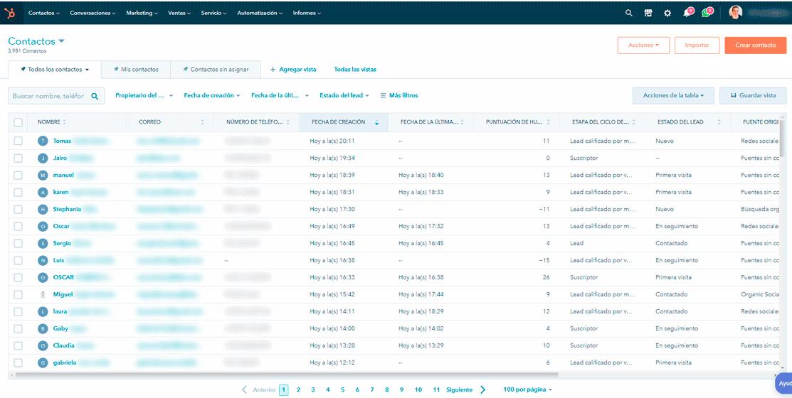 Panel de contactos de hubspot crm captura de pantalla