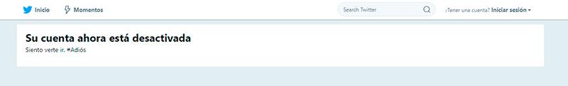 Captura de pantalla de la cuenta desactivada