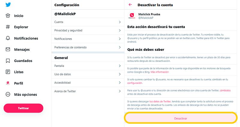 Captura de pantalla del menú desactivar cuenta, eligiendo la opción desactivar