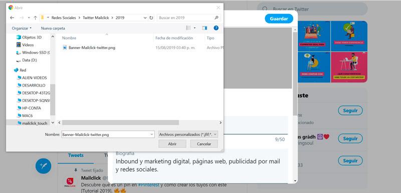 Captura de pantalla seleccionando la imagen de portada para el perfil de Twitter