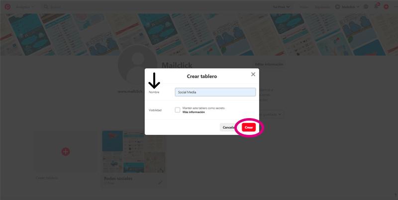 Captura de pantalla donde se agrega el nombre del tablero y se crea