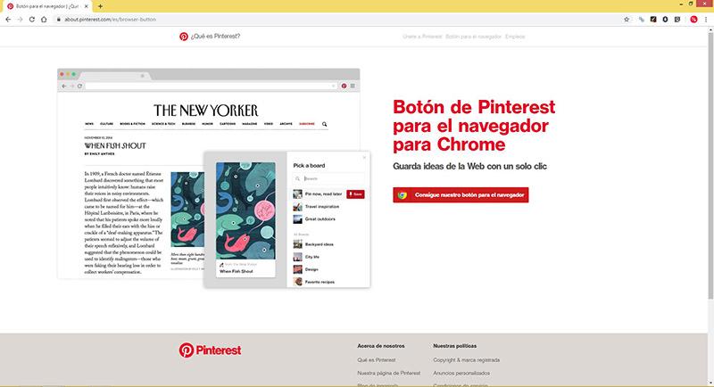 Captura de pantalla de la página de Pinterest para descargar el botón