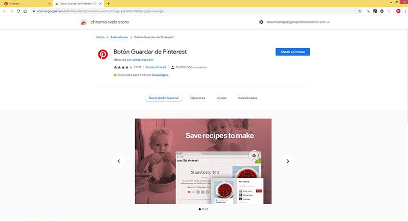 Captura de pantalla de la extensión en Google Chrome para descargar el botón de Pinterest