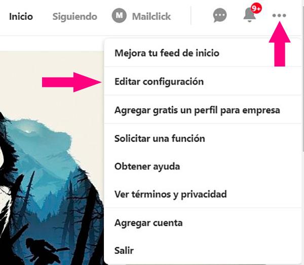 Captura de pantalla sañalando dónde se configura el perfil en Pinterest