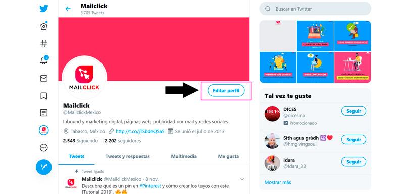 Captura de pantalla señalando el botón para editar un perfil en Twitter