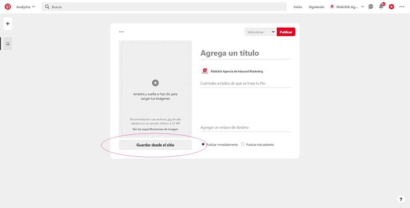 Captura de pantalla señalando dónde guardar una imagen desde un sitio web para un pin