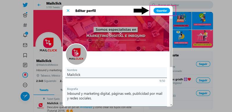Captura de pantalla de la pantalla lista para guardar la portada de Twitter