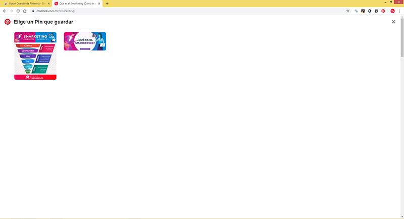 Captura de pantalla de las imágenes que puedes seleccionar para crear un pin