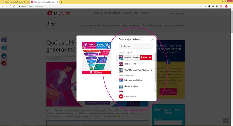 Captura de pantalla señalando la ubicación de los tableros en Pinterest