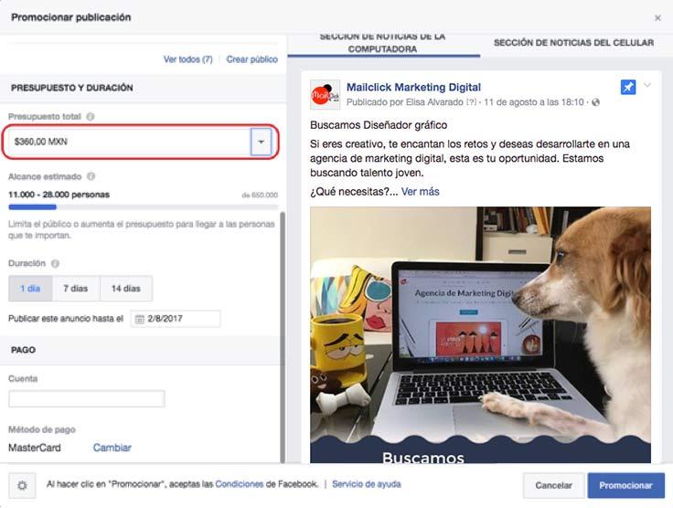 Paso 3: Elige la duración y el método de pago de tu anuncio