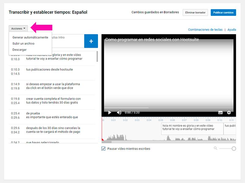 Captura de pantalla mostrando cómo editar los subtítulos