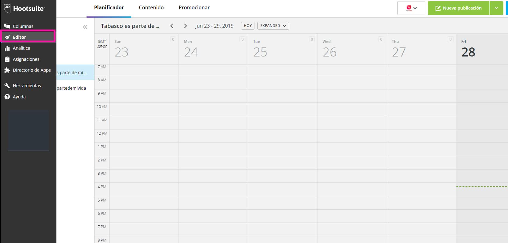 Captura de pantalla del Editor de Hootsuite