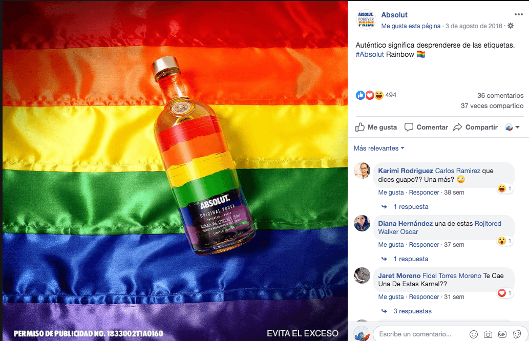 Ejemplo de Newsjacking LGBT en Absolut