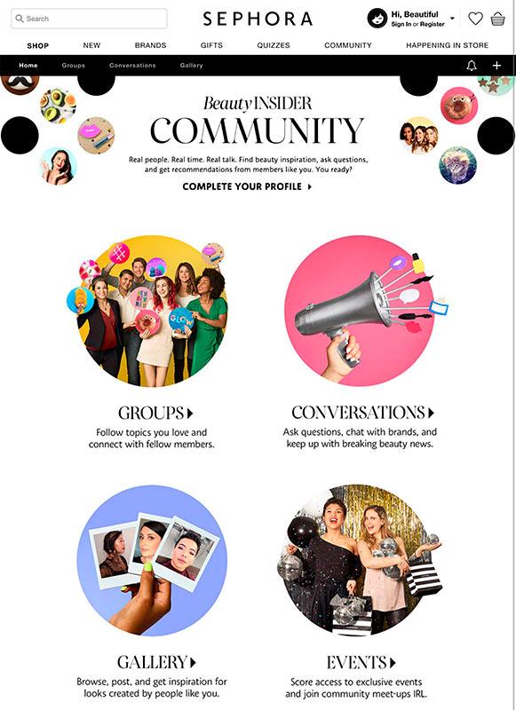 Comunidad de Sephora como ejemplo de adquisición y promotores