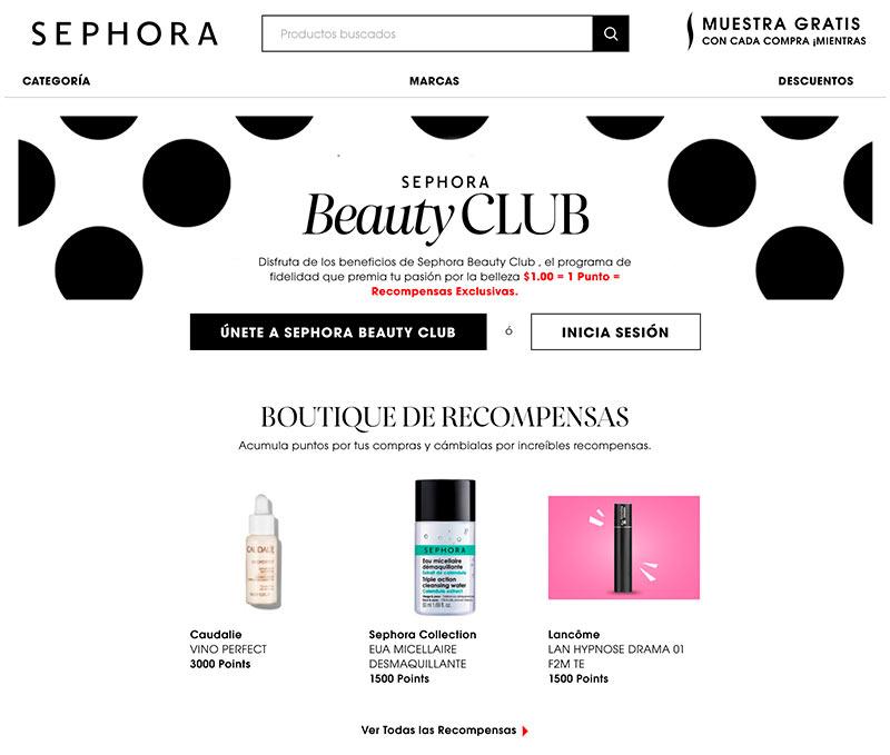 Captura de pantalla de la página de Sephora como ejemplo de adquisición y promotores