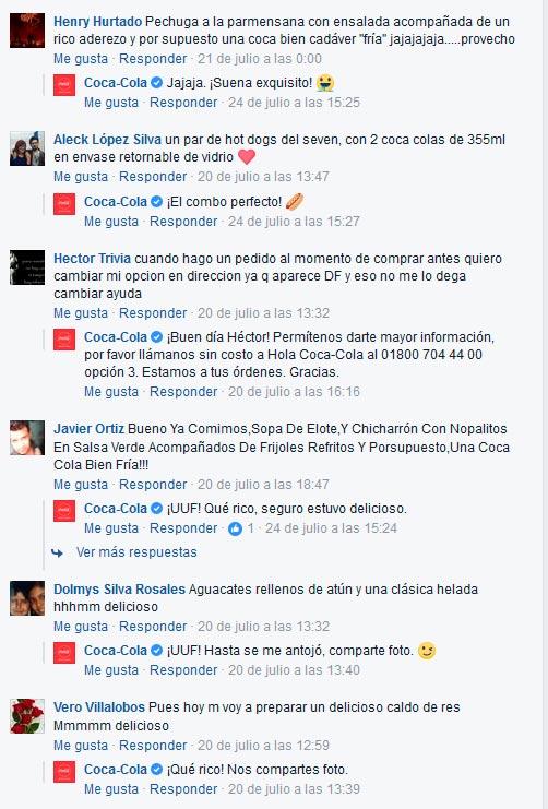 Imagen que muestra como el Community Manager de Coca-Cola simpatiza con usuarios en Facebook