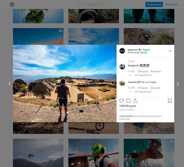 Captura de pantalla del Instagram de GoPro como ejemplo de contenido y programación