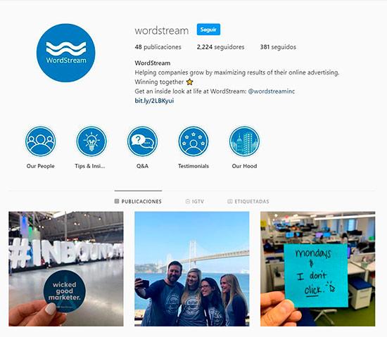 Captura de pantalla del Instagram de WordStream como ejemplo de compromiso externo