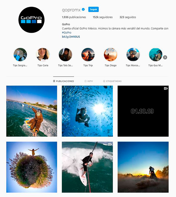 GoPro, ejemplo de contenido y programación