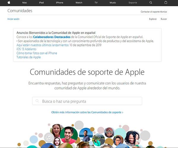 Captura de pantalla de la comunidad de soporte de Apple