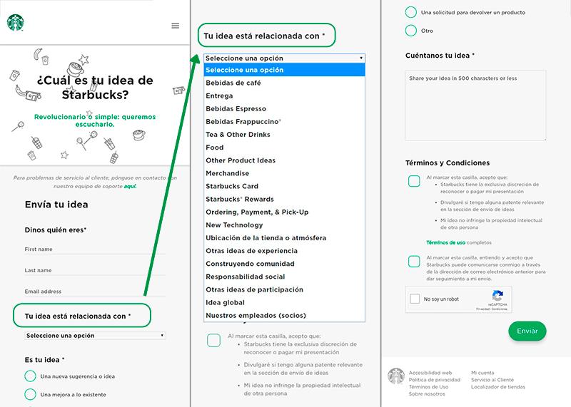 Captura de pantalla de la página de Ideas Starbucks como ejemplo de ideación, innovación y retroalimentación del producto