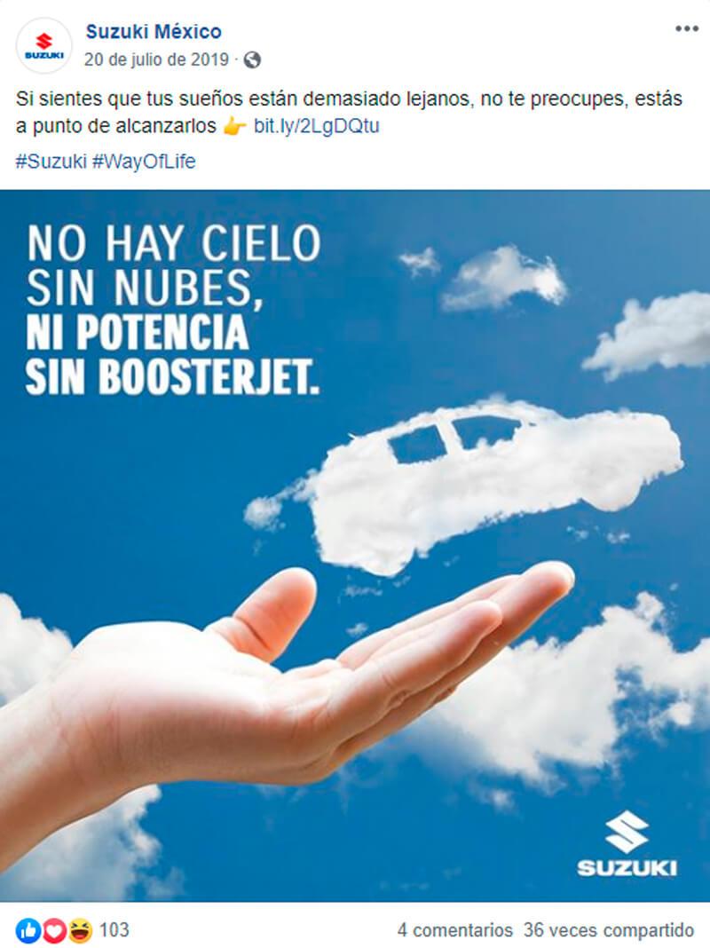 Captura de pantalla de publicación en Facebook sobre auto en forma de nube