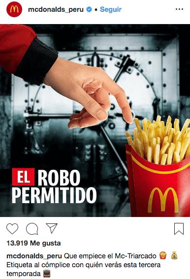 Ejemplo de Newsjacking Mcdonald's Perú La Casa de Papel