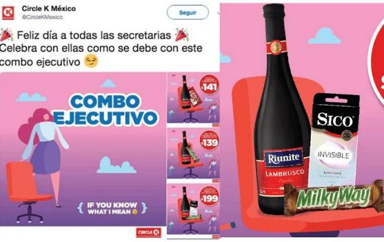 Ejemplo de un newsjacking negativo publicado por Circle K México Día de la Secretaria
