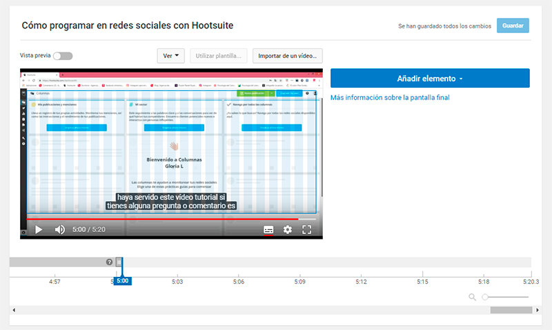 Captura de pantalla de ejemplo de pantalla final