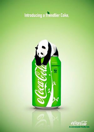 Ejemplo psicología del color Coca Cola