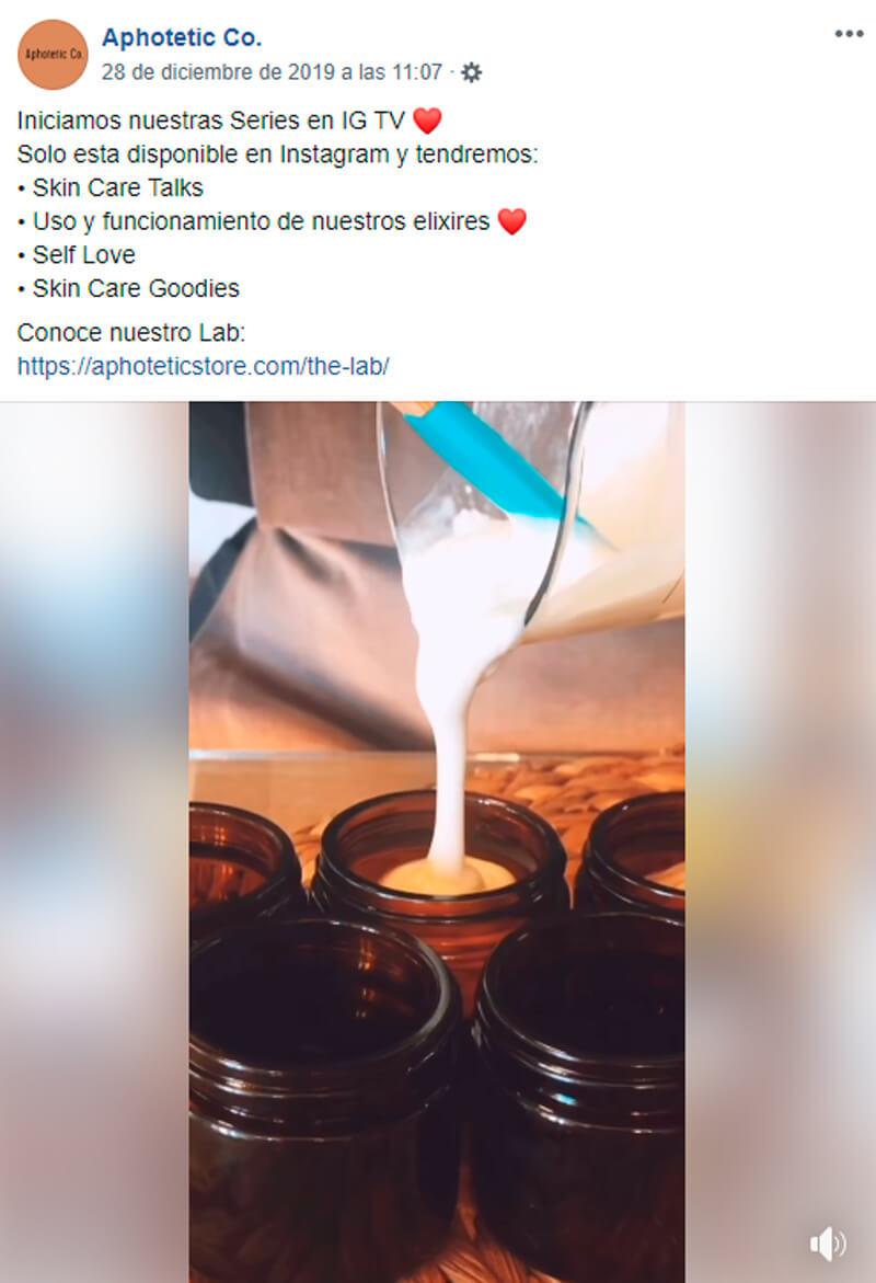 Captura de pantalla de publicación de procesos de producción de un producto en Facebook