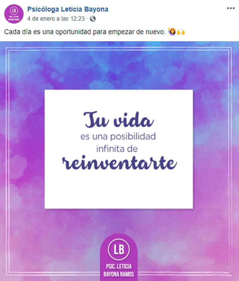 Captura de pantalla de ejemplo de publicación sobre frase motivacional en Facebook