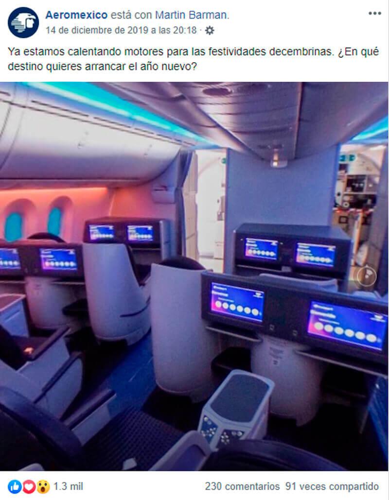 Captura de pantalla de publicación de avión en Facebook