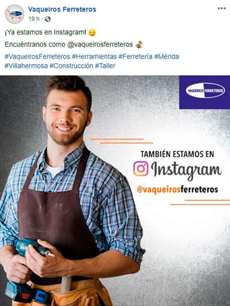 Captura de pantalla de publicación para seguir una cuenta de Instagram en Facebook
