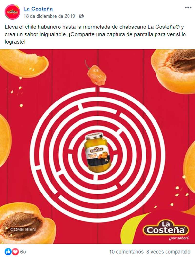 Captura de pantalla de publicación sobre juego de laberinto en Facebook