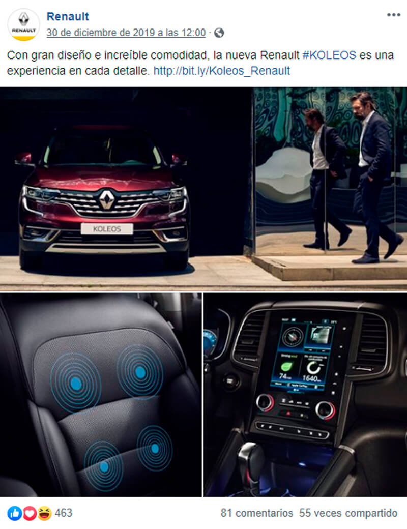 Captura de pantalla de publicación mostrando interior y exterior de auto para facebook