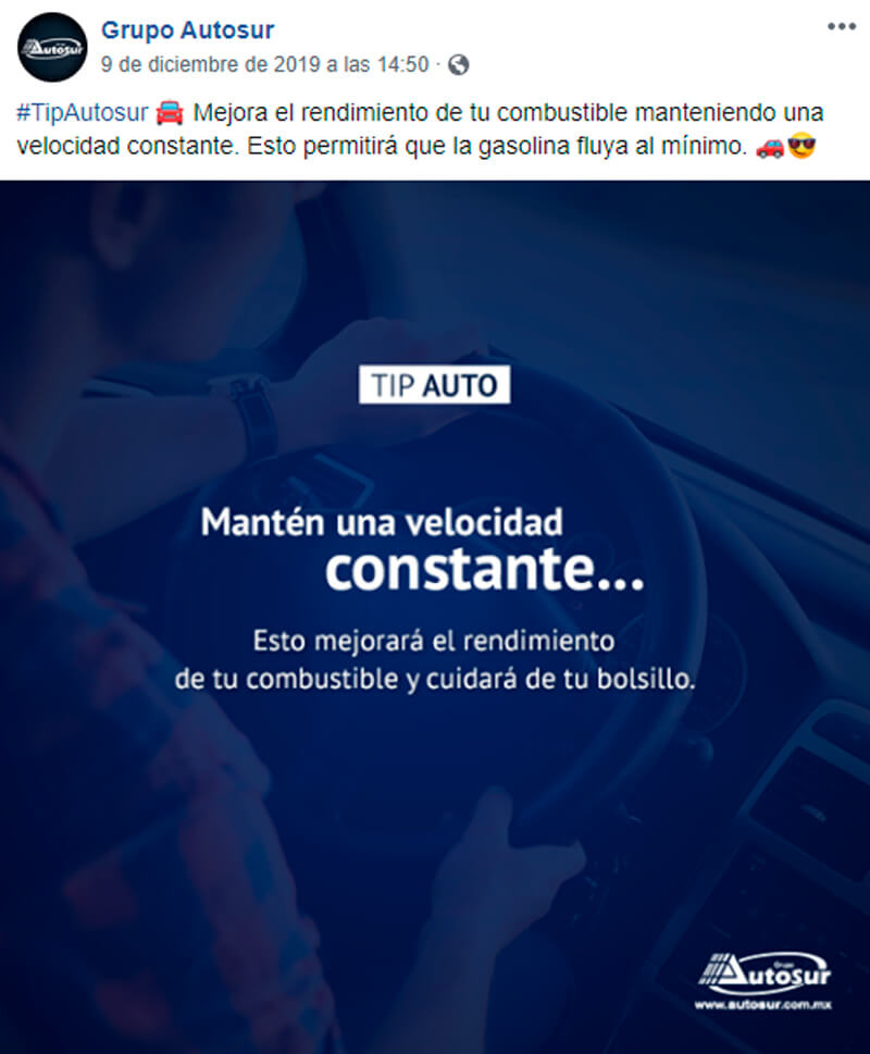 Captura de pantalla de publicación de tips de auto en Facebook