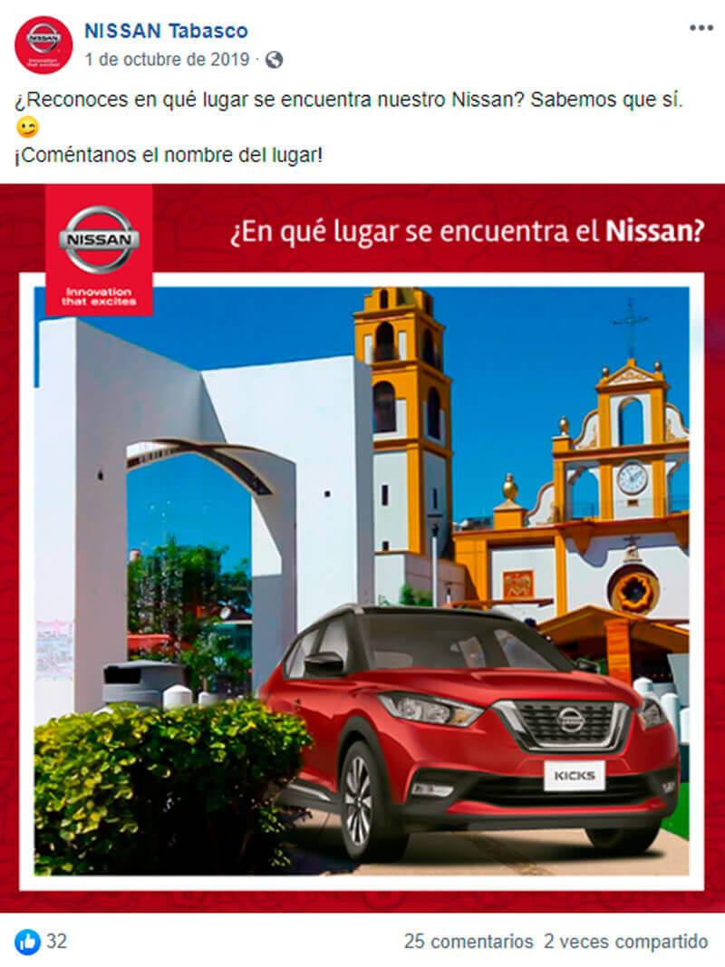 Captura de pantalla de publicación tropicalizada para autos en Facebook