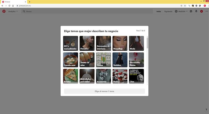 """Captura de pantalla del séptimo paso para el perfil empresarial: """"Elige temas que mejor describan tu negocio"""""""